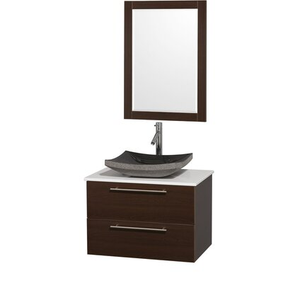 Amare 30 Single Espresso Bathroom Vanity Set with Mirror Top Finish: White Man-Made Stone, Sink Finish: Black Granite