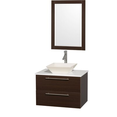 Amare 30 Single Espresso Bathroom Vanity Set with Mirror Top Finish: Green Glass, Sink Finish: Black Granite