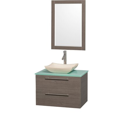 Amare 30 Single Gray Oak Bathroom Vanity Set with Mirror Top Finish: Green Glass, Sink Finish: Ivory Marble