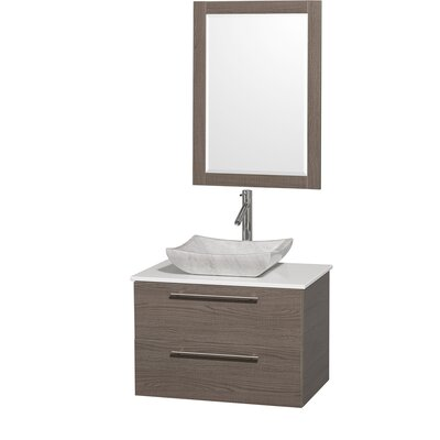 Amare 30 Single Gray Oak Bathroom Vanity Set with Mirror Top Finish: White Man-Made Stone, Sink Finish: White Carrera Marble