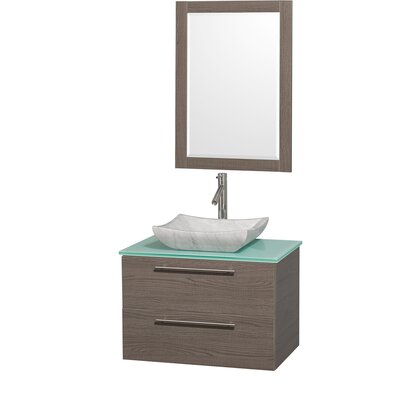 Amare 30 Single Gray Oak Bathroom Vanity Set with Mirror Top Finish: Green Glass, Sink Finish: White Carrera Marble