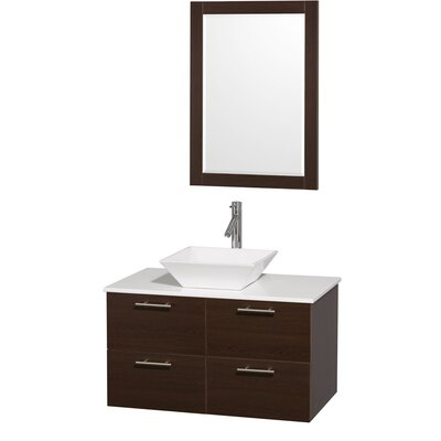 Amare 36 Single Espresso Bathroom Vanity Set with Mirror Top Finish: Green Glass, Sink Finish: White Carrera Marble