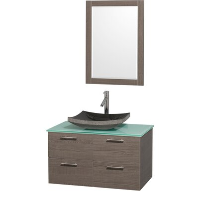 Amare 36 Single Gray Oak Bathroom Vanity Set with Mirror Top Finish: Green Glass, Sink Finish: Black Granite