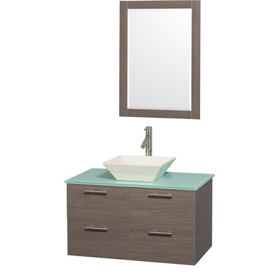 Amare 36 Single Gray Oak Bathroom Vanity Set with Mirror Top Finish: Green Glass, Sink Finish: Ivory Marble