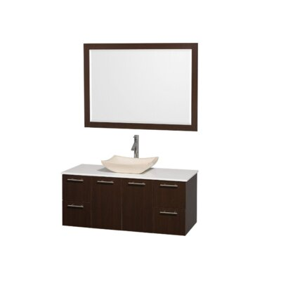 Amare 48 Single Espresso Bathroom Vanity Set with Mirror Top Finish: White Man-Made Stone, Sink Finish: Ivory Marble