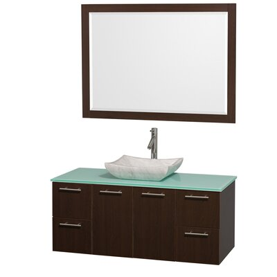 Amare 48 Single Espresso Bathroom Vanity Set with Mirror Top Finish: Green Glass, Sink Finish: White Carrera Marble