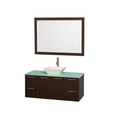 Amare 48 Single Espresso Bathroom Vanity Set with Mirror Top Finish: Green Glass, Sink Finish: Bone Porcelain