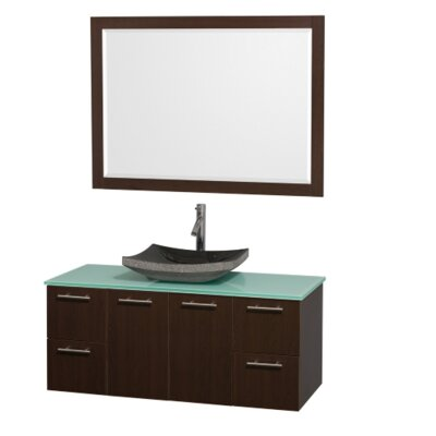 Amare 48 Single Espresso Bathroom Vanity Set with Mirror Top Finish: Green Glass, Sink Finish: Black Granite