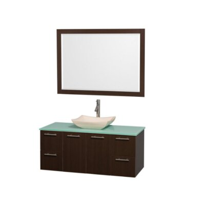 Amare 48 Single Espresso Bathroom Vanity Set with Mirror Top Finish: Green Glass, Sink Finish: Ivory Marble
