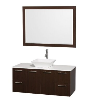 Amare 48 Single Espresso Bathroom Vanity Set with Mirror Top Finish: White Man-Made Stone, Sink Finish: White Porcelain