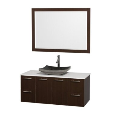 Amare 48 Single Espresso Bathroom Vanity Set with Mirror Top Finish: White Man-Made Stone, Sink Finish: Black Granite