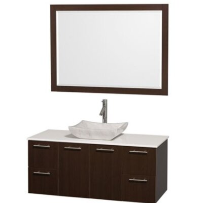 Amare 48 Single Espresso Bathroom Vanity Set with Mirror Top Finish: White Man-Made Stone, Sink Finish: White Carrera Marble