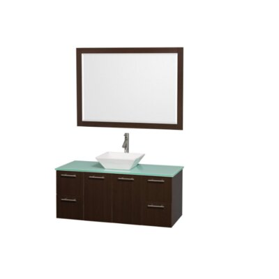 Amare 48 Single Espresso Bathroom Vanity Set with Mirror Top Finish: Green Glass, Sink Finish: White Porcelain