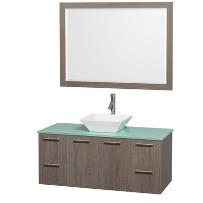 Amare 48 Single Gray Oak Bathroom Vanity Set with Mirror Top Finish: Green Glass, Sink Finish: White Porcelain