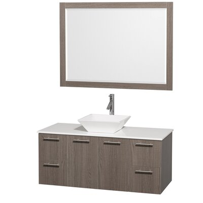 Amare 48 Single Gray Oak Bathroom Vanity Set with Mirror Top Finish: White Man-Made Stone, Sink Finish: White Porcelain