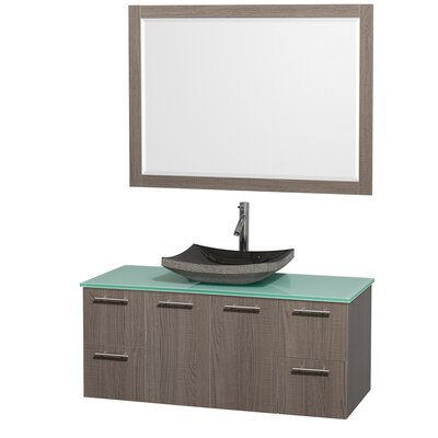 Amare 48 Single Gray Oak Bathroom Vanity Set with Mirror Top Finish: Green Glass, Sink Finish: Bone Porcelain