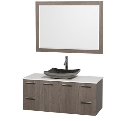 Amare 48 Single Gray Oak Bathroom Vanity Set with Mirror Top Finish: White Man-Made Stone, Sink Finish: Black Granite