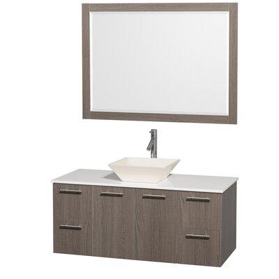 Amare 48 Single Gray Oak Bathroom Vanity Set with Mirror Top Finish: White Man-Made Stone, Sink Finish: Bone Porcelain
