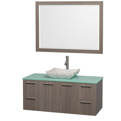 Amare 48 Single Gray Oak Bathroom Vanity Set with Mirror Top Finish: Green Glass, Sink Finish: Ivory Marble