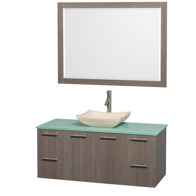 Amare 48 Single Gray Oak Bathroom Vanity Set with Mirror Top Finish: Green Glass, Sink Finish: White Carrera Marble