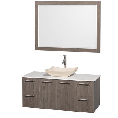 Amare 48 Single Gray Oak Bathroom Vanity Set with Mirror Top Finish: White Man-Made Stone, Sink Finish: White Carrera Marble
