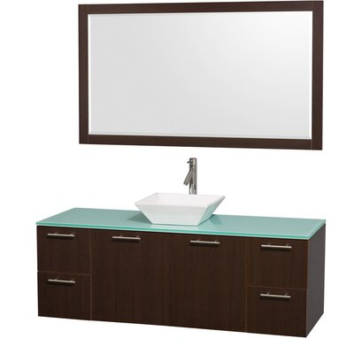 Amare 60 Single Espresso Bathroom Vanity Set with Mirror Top Finish: Green Glass, Sink Finish: White Porcelain