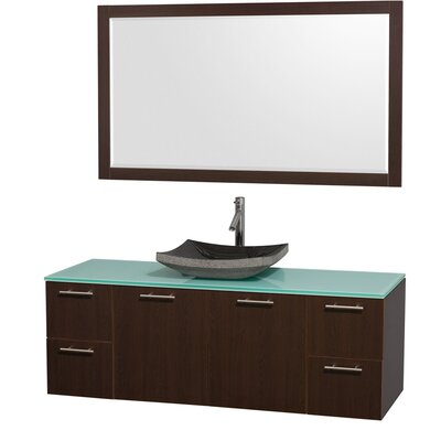Amare 60 Single Espresso Bathroom Vanity Set with Mirror Top Finish: Green Glass, Sink Finish: Black Granite
