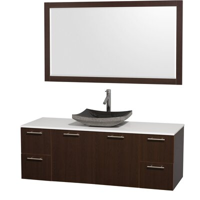 Amare 60 Single Espresso Bathroom Vanity Set with Mirror Top Finish: White Man-Made Stone, Sink Finish: Black Granite
