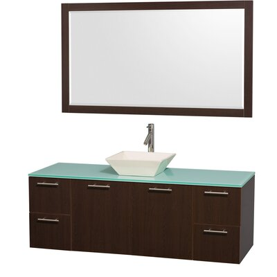 Amare 60 Single Espresso Bathroom Vanity Set with Mirror Top Finish: Green Glass, Sink Finish: Bone Porcelain