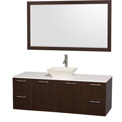 Amare 60 Single Espresso Bathroom Vanity Set with Mirror Top Finish: White Man-Made Stone, Sink Finish: Bone Porcelain
