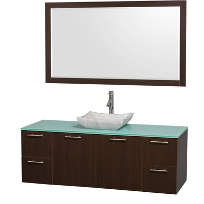 Amare 60 Single Espresso Bathroom Vanity Set with Mirror Top Finish: Green Glass, Sink Finish: Ivory Marble