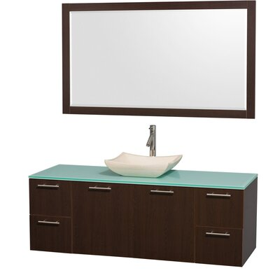 Amare 60 Single Espresso Bathroom Vanity Set with Mirror Top Finish: Green Glass, Sink Finish: White Carrera Marble