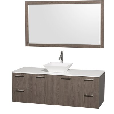 Amare 60 Single Gray Oak Bathroom Vanity Set with Mirror Top Finish: White Man-Made Stone, Sink Finish: Ivory Marble