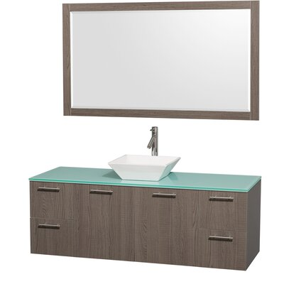Amare 60 Single Gray Oak Bathroom Vanity Set with Mirror Sink Finish: Ivory Marble, Top Finish: Green Glass