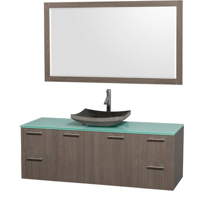 Amare 60 Single Gray Oak Bathroom Vanity Set with Mirror Top Finish: White Man-Made Stone, Sink Finish: Black Granite