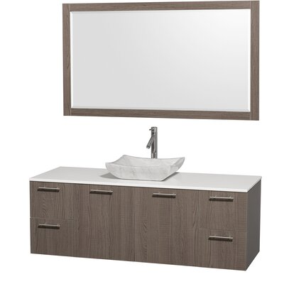 Amare 60 Single Gray Oak Bathroom Vanity Set with Mirror Top Finish: White Man-Made Stone, Sink Finish: White Carrera Marble