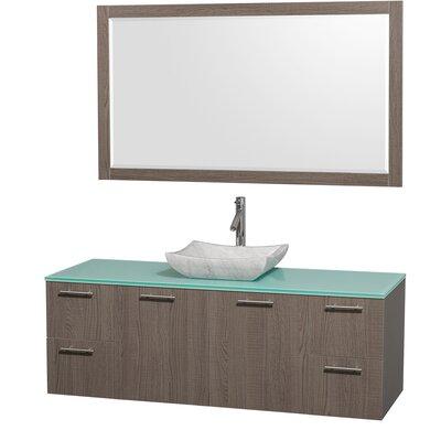 Amare 60 Single Gray Oak Bathroom Vanity Set with Mirror Top Finish: Green Glass, Sink Finish: White Carrera Marble