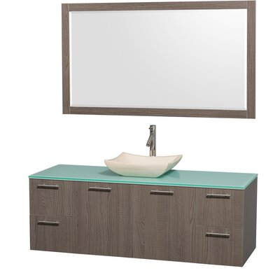 Amare 60 Single Gray Oak Bathroom Vanity Set with Mirror Top Finish: Green Glass, Sink Finish: Black Granite