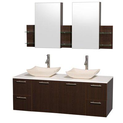 Amare 60 Double Espresso Bathroom Vanity Set with Medicine Cabinet Top Finish: White Man-Made Stone, Sink Finish: Black Granite