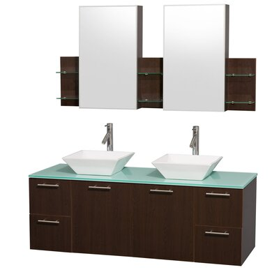 Amare 60 Double Espresso Bathroom Vanity Set with Medicine Cabinet Top Finish: Green Glass, Sink Finish: Ivory Marble