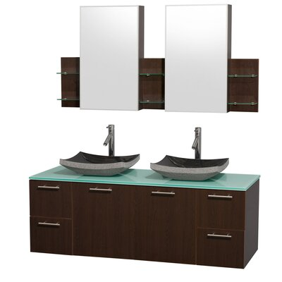 Amare 60 Double Espresso Bathroom Vanity Set with Medicine Cabinet Sink Finish: White Carrera Marble, Top Finish: Green Glass