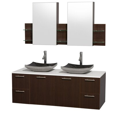 Amare 60 Double Espresso Bathroom Vanity Set with Medicine Cabinet Top Finish: White Man-Made Stone, Sink Finish: White Carrera Marble