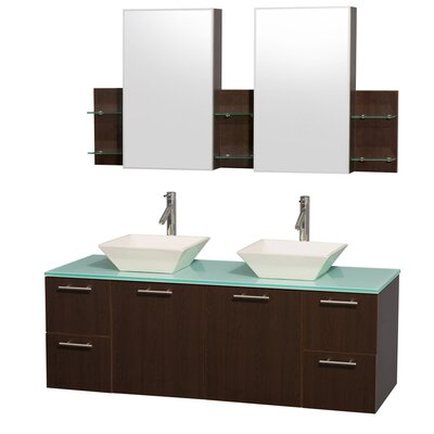 Amare 60 Double Espresso Bathroom Vanity Set with Medicine Cabinet Top Finish: Green Glass, Sink Finish: Bone Porcelain