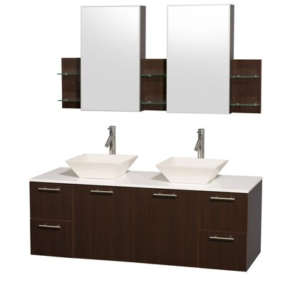 Amare 60 Double Espresso Bathroom Vanity Set with Medicine Cabinet Top Finish: White Man-Made Stone, Sink Finish: Bone Porcelain