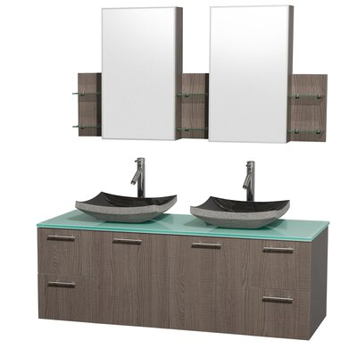 Amare 60 Double Gray Oak Bathroom Vanity Set with Medicine Cabinet Sink Finish: Bone Porcelain, Top Finish: Green Glass