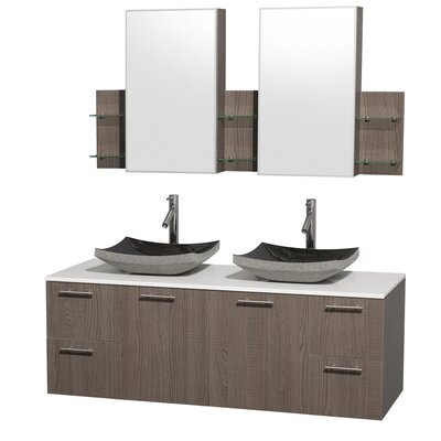 Amare 60 Double Gray Oak Bathroom Vanity Set with Medicine Cabinet Top Finish: White Man-Made Stone, Sink Finish: Bone Porcelain