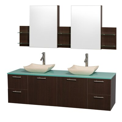 Amare 72 Double Espresso Bathroom Vanity Set with Medicine Cabinet Top Finish: Green Glass, Sink Finish: White Carrera Marble