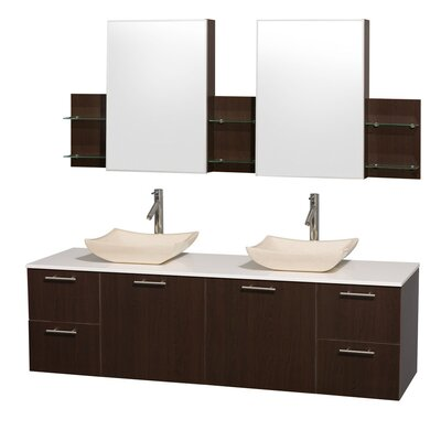 Amare 72 Double Espresso Bathroom Vanity Set with Medicine Cabinet Top Finish: White Man-Made Stone, Sink Finish: White Carrera Marble