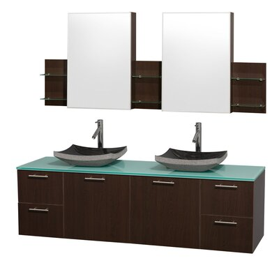 Amare 72 Double Espresso Bathroom Vanity Set with Medicine Cabinet Top Finish: Green Glass, Sink Finish: Black Granite