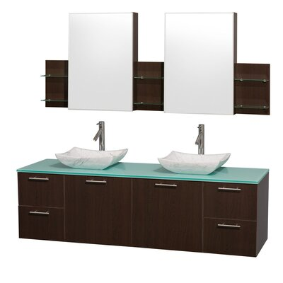 Amare 72 Double Espresso Bathroom Vanity Set with Medicine Cabinet Top Finish: Green Glass, Sink Finish: Ivory Marble